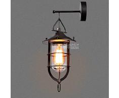 Injuicy Lighting Loft Vintage Industriel Applique Murale en Métal Noir Rustique E27 Edison Peint Rétro Lampe Murale Décoration Dock Restaurants Corridor Bar Café Lampshade (110-220V, Sans Ampoule)