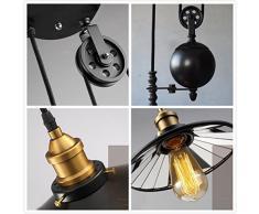 NIUYAO Lampe Suspension Lustre Abat-jour Métal Pendant Lights Rétro Industrielle Eclairage Décorative Réglable-Noir