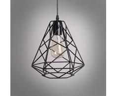 NIUYAO Suspension Lustre Industrielle Chandelier Abat-jour en Métal Style Cage Rétro Pendant Ceiling Light Réglable-Noir