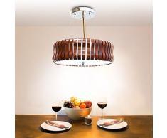 Relaxdays 10018906 Plafonnier RINC Lampe de Plafond Lustre Abat-Jour en Bois Rond 3 Ampoules H 14cm diamètre 54cm Marron foncé
