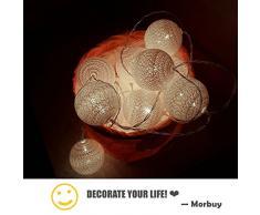Guirlande Lumineuse Boules, Morbuy 4.8m / 30LED Batterie Chaîne de Lumière 6cm Boules Coton LED Cosy Romantique Lumière Couleur Décoration Pour La Saint Valentin Noël Fêtes Mariage Fêtes Ou Occasions (4.8m / 30 Boule lumière, Rose pâle)