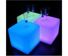 MERVY - Lot de 2 Cubes Led Pouf Table Basse Tabouret 40cm lumineux multicolore + télécommande/ INTERIEUR-EXTERIEUR 71.10 euros le cube