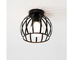 Rétro Métal Plafonnier Noir Cage en Form Boule Industriel Vintage Suspensions Luminaire Edison Culot E27 Lustre pour Salon Chambre (B)
