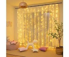 Rideau Lumineux, Guirlandes Lumineuses 300 LED 3m*3m,8 Modes dEclairage, Basse Tension 31V, Decoration de Fenêtre, Noël, Mariage, Anniversaire, Maison, Patio, Etanche IP44