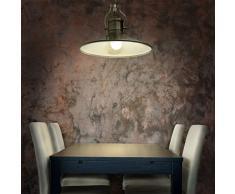 Relaxdays Luminaire suspension de plafond lampe style industriel avec hauteur réglable abat-jour en fer optique lation socle en bois cuisine salle à manger