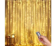 Rideau Lumineux, DazSpirit Guirlandes Lumières Décoratives de Fenêtre 3M * 3M, USB 300 LEDs 8 Modes de Fonctionnement et Résistance à Leau - Pour Extérieur, Intérieur, Noël, Chambre à Coucher