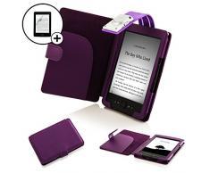 ForeFront Cases Étui en cuir portefeuille avec lampe de lecture LED et film protecteur d'écran pour Amazon Kindle 4 - Bleu _ P Kindle 4 violet