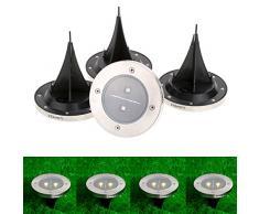 Lixada 4pcs LED Lampe solaire au sol Projecteur de jardin paysage voie