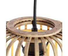 QAZQA Rustique/Rustique Salle a manger suspension/Lustre/Luminaire/Lumiere/Éclairage rurale en rotin à 3 lumières - Manille/Acier Beige,Noir Cylindre/Oblongue/Rond/intérieur/Salon/Cuisine