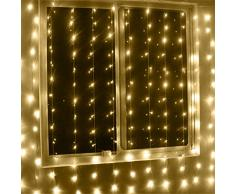 GEEDIAR?3Mx3M Rideau Lumineux 300 LED fen¨ºtre rideaux Icicle Lumi¨¨res cordes F¨¦e de noce Lumi¨¨re jardin D¨¦corations (Blanc chaude)