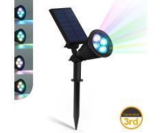 ZEEFO LED Lampes Solaires de 200 Lumens, Projecteur à Énergie Solaire Étanche LED Lumière Murale 180° Réglable Extérieure Éclairage Paysager Luminaires de Nuit de Sécurité pour Jardin Spots Encastrés de Sol Lampe Solaire