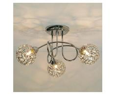 KOSILUM - Plafonnier design 3 boules Aphyse - Lumière Blanc Chaud Eclairage Salon Chambre Cuisine Couloir - 3 x 25W - - G9 - IP20