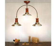 Relaxdays 10018897 Design Industriel Plafonnier avec 3 Ampoules Lampes Bois, Argenté