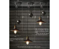 Lampe à Suspension Vintage, Lustre Rétro Industriel, COCOL Bar E27 Lampe à Suspension, Lustre Industriel en Métal, Suspension Style Roue avec Wave Retro Réglable-Noir (Color : Single head B)