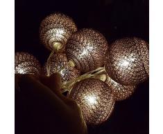 Guirlande Lumineuse LED, Morbuy Lumineuse Boule Cosy Coton LED Batterie Éclairage Matériau En PVC 6cm Balle Ficelle Lumière Couleur Décoration Pour La Saint Valentin Noël Fêtes Mariage d'autres F (Marron, 3.3m / 20 Boule lumière)