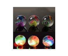 WRUMLJUFX Jouets pour Enfants créatifs Lumineux Boule de Cristal Flash Cristal rebondissant Balle élastique Jouet Lumineux en Gros, Poisson Lampe Boule Gonflable Lumineux (sans Corde)