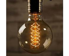 Elfeland lampe Antique / style vintage rétro industrielle / E27 40W spirale filament / lustre mur lumières suspendues / G95 mm Baissable