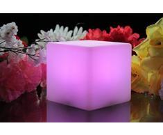 Cube LED Lumineux 20cm - Lumière d'Ambiance Lampe de Table Rechargeable par PK Green