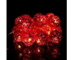 Guirlande Lumineuse Boule, Morbuy Batterie Lumineuse Boules 20 Led boules Longueur 2 Mètres Alimenté par Batterie Ficelle Lumière Décoration Pour La Saint Valentin Noël Fêtes Mariage d'autres Fêtes (Rouge)