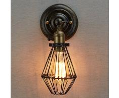 CLAXY Applique murale rustique en métal avec cage style industriel - Pour ampoule à filament Edison