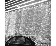 Viktion - 800 LEDs Guirlande Rideau lumineux 8m * 3m de 8 modes differents - pour la decoration intérieur / extérieur comme hotel marriage cérémonie soirée fête etc. - IP44, pour utilisation intérieur seulement (Blanc )