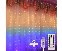 Weesey Rideau Lumineux à LED, Guirlande Lumineuse en étoile de 1.5x2m, Rideau en étoile à 210 diodes électroluminescentes à LED pour Noël, décoration de fêtes, éclairage intérieur, 8 Modes