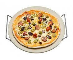 Pierre à pizza avec armature en métal 33 cm Ø - plaque de Pizza - Tarte Pierre - assiette à pizza
