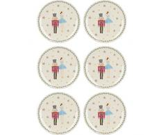 KitchenCraft The Nutcracker Collection Lot d'assiettes, motif Noël, Céramique, 17 cm, 6 Pieces