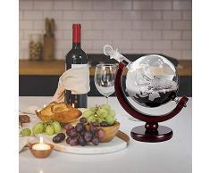 HOUSHIYU-521 Gravée Whisky Globe Carafe Ensemble, Globe Carafe avec 4 Globe Verres À Whisky, pour Liqueur, Scotch, Bourbon, Vodka - 850 ML, Cadeaux Parfaits Liés À Lalcool