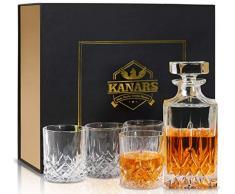 KANARS 5 Pièces Carafe Whisky, Décanter Cristal, 750ml Bouteille avec 4X 300ml Verre à Whiskey, Belle Boîte Cadea