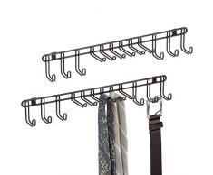 mDesign patere – Porte-Cravates Pratique ou Porte-Ceinture en métal à Monter sur Un Mur – pour Foulards, Sacs et Accessoires – Bronze
