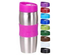 BERGNER Mug isotherme en acier inoxydable et plastique pour café et autres boissons chaudes Différents coloris 380 ml rose bonbon