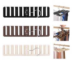 Biluer 3 Pièces Cintre Porte-Cravate Rangement Ceinture Dressing Porte Ceinture pour Cravates Foulards Châles Ceintures Et Autres Accessoires (Noir,Marron,Blanc)