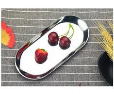 niceEshop(TM) Plateau Ovale en Inox, Plateau de Rangement en Acier Inoxydable pour Maquillage, Cuisine, Fruits et Petits Accessoires (Argent)
