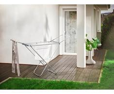 Leifheit Séchoir sur pied Classic Siena 180 Easy Aluminium, étendoir à linge pour intérieur & extérieur, sèche linge ultra-léger, longueur détendage 18 m