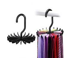 ipow [2 Pièces] Porte-Cravate Pivote à 360° Organisateur 20 Crochets pour Cravates, Foulards, châles, Ceintures et Autres Accessoires –Noir