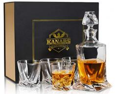 KANARS Carafe et Verres à Whisky Cristal, 800ml Bouteille avec 4x 300ml Verre à Whiskey, 5 Pièces, Belle Boîte Cadea