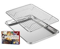 KITCHENATICS Plat à rôtir et à pâtisserie en Aluminium avec Grille en Acier Inoxydable: Plat à Biscuits avec Grille de Refroidissement - 24,4 x 33 CM (Petit)