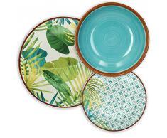 Tognana Service de table 18pièces Jungle, 9.12kg, Porcelaine, multicolore