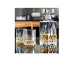 Lot 7 pièces avec carafe à whisky en cristal de 75 cl et 6 verres à whisky 30 cl de style « ancien »