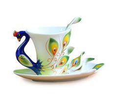 niceeshop(TM) Kit de Tasse de Thé / Tasse de Café Artificielle en émail avec Cuillère et Soucoupe (Vert)
