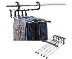 Eribell7 Lot de 2 Porte-Pantalons en Acier Inoxydable 5 en 1 Multifonction Cravate Multifonction pour Pantalons, Pantalons, Crochets pour économiser de l'espace
