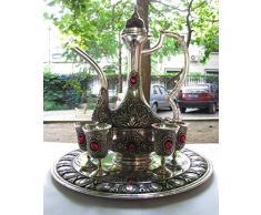 Argent décoratif 4 cups Ruby Table en verre à vin Pichet & Palette de