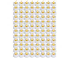 Set de 96 bougies LED sans flammes - BLANC - Ø 3,8 cm - H 4,4 cm - électrique - DIVERS SETS AU CHOIX