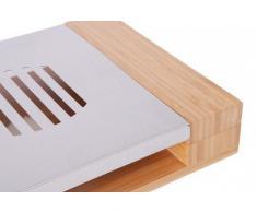 Quantio Chauffe-plat/dessous-de-plat En bambou élégant et acier inoxydable