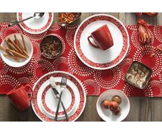 Corelle 1103061 Service de Table Livingware pour 4 Personnes (16 pièces) - Décor Bandhani, Verre, Rouge