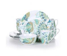VEWEET, série Elina, Service de Table, 16 pièces, pour 4 Personnes, en Porcelaine.