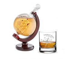 AMAVEL Set de Dégustation 2 pièces, Carafe Globe et Verre Tumbler à Whisky, Gravure Personnalisée Nom et Date Rose de Vents, Volume 320 ML et 650 ML