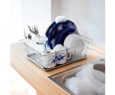 Relaxdays Égouttoir à vaisselle et support pour couverts et bac -assiettes inox acier inoxydable, gris argenté - HxlxP : 39,5 x 30,3 x 12.5 cm