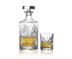 Brilliant Lot de 5 pièces à whisky, Ashford cristal sans plomb Carafe à whisky et verres à whisky.